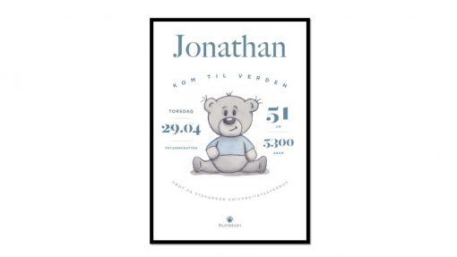 Fødselsplakat Brumlegutt blå
