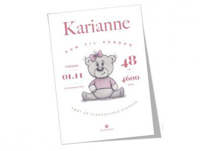 Fødselsplakat Brumlejente rosa